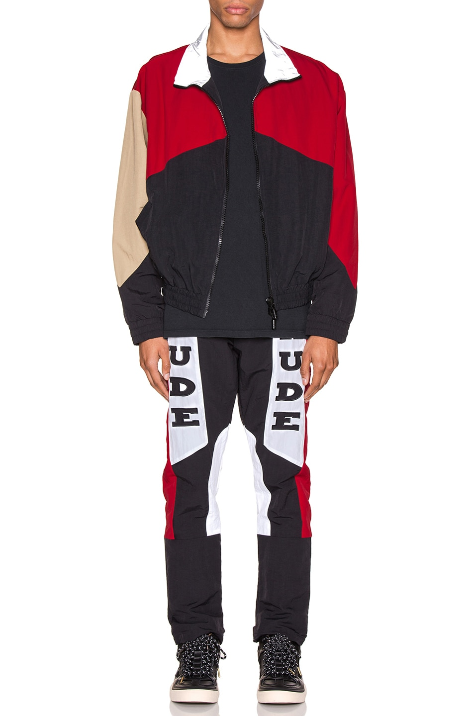 Image 4 of Rhude Rhacing Pant in Black & White & Red
