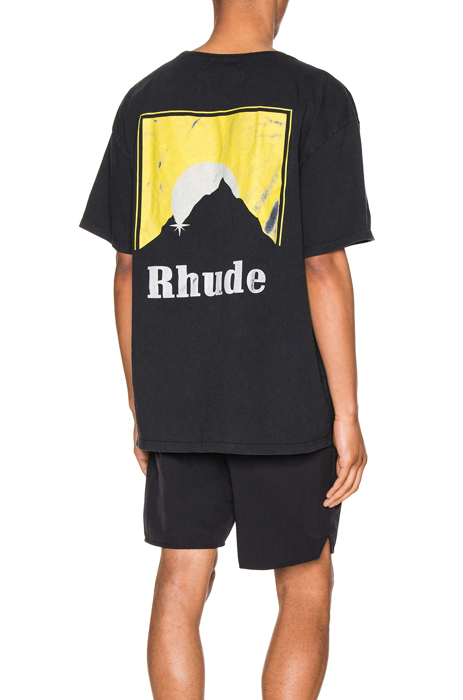 Image 1 of Rhude Moonlight Logo Tee in Yellow & Black