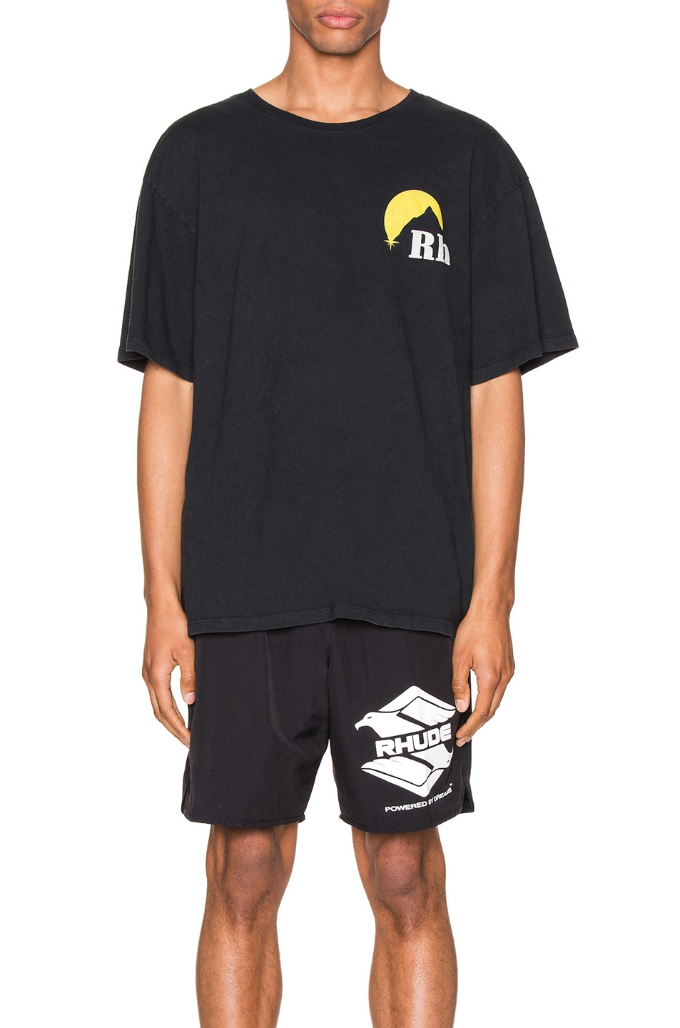 Image 2 of Rhude Moonlight Logo Tee in Yellow & Black