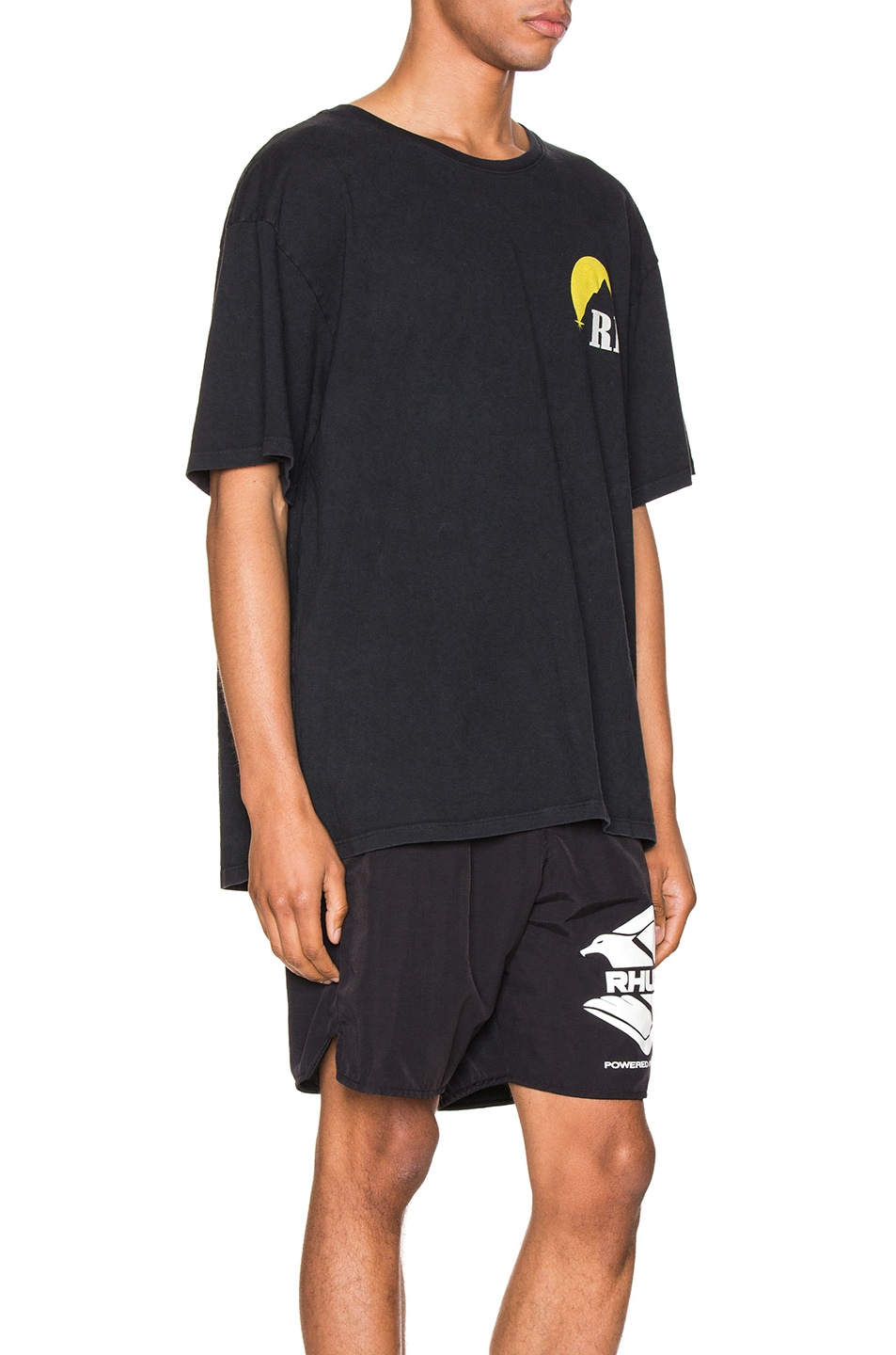 Image 3 of Rhude Moonlight Logo Tee in Yellow & Black