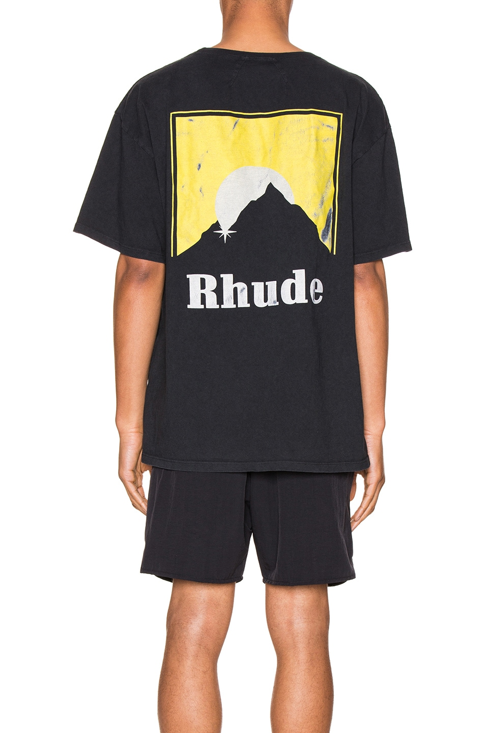 Image 4 of Rhude Moonlight Logo Tee in Yellow & Black