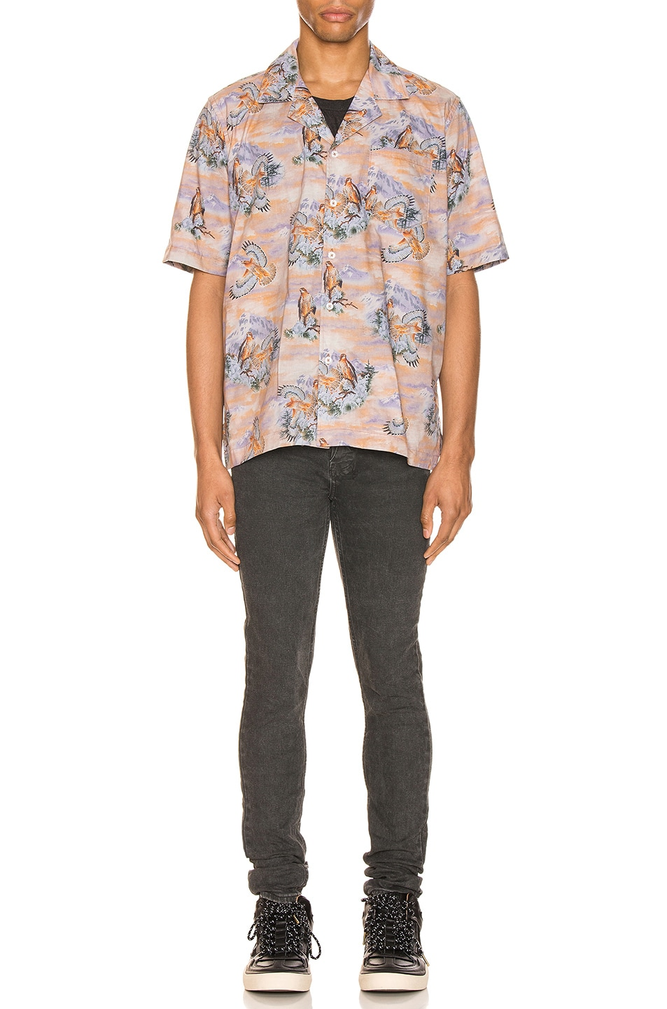 Image 5 of Rhude Eagle Button Up in Brown