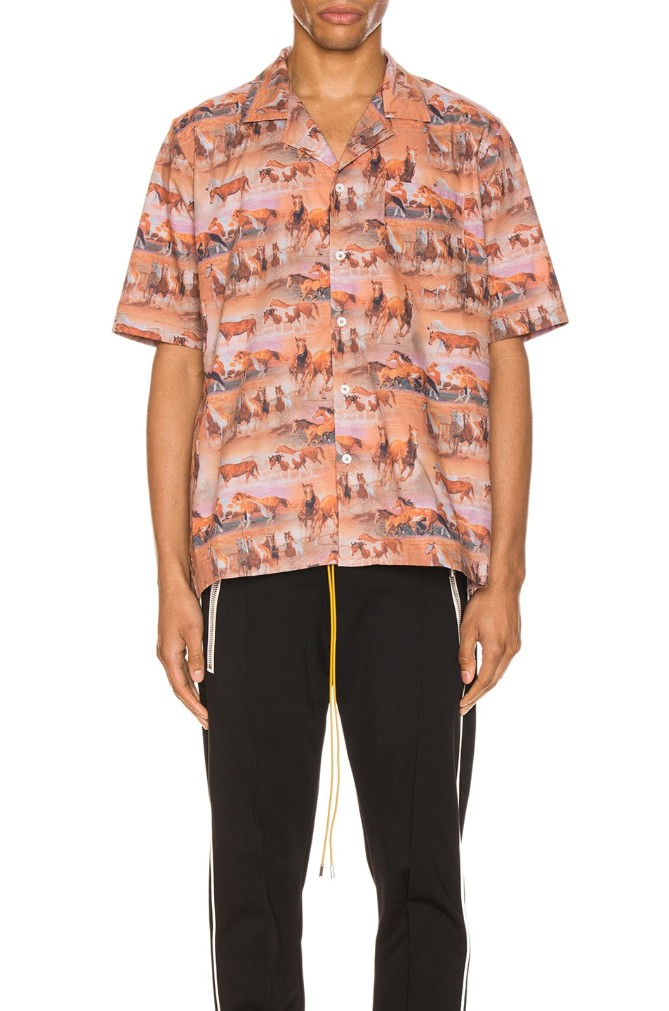 Image 2 of Rhude Horses Button Up in Orange