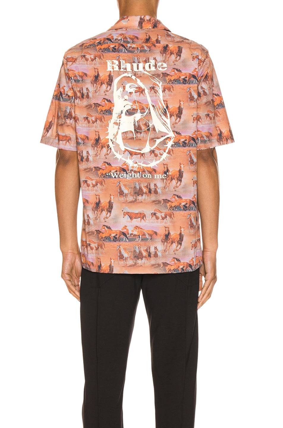 Image 4 of Rhude Horses Button Up in Orange