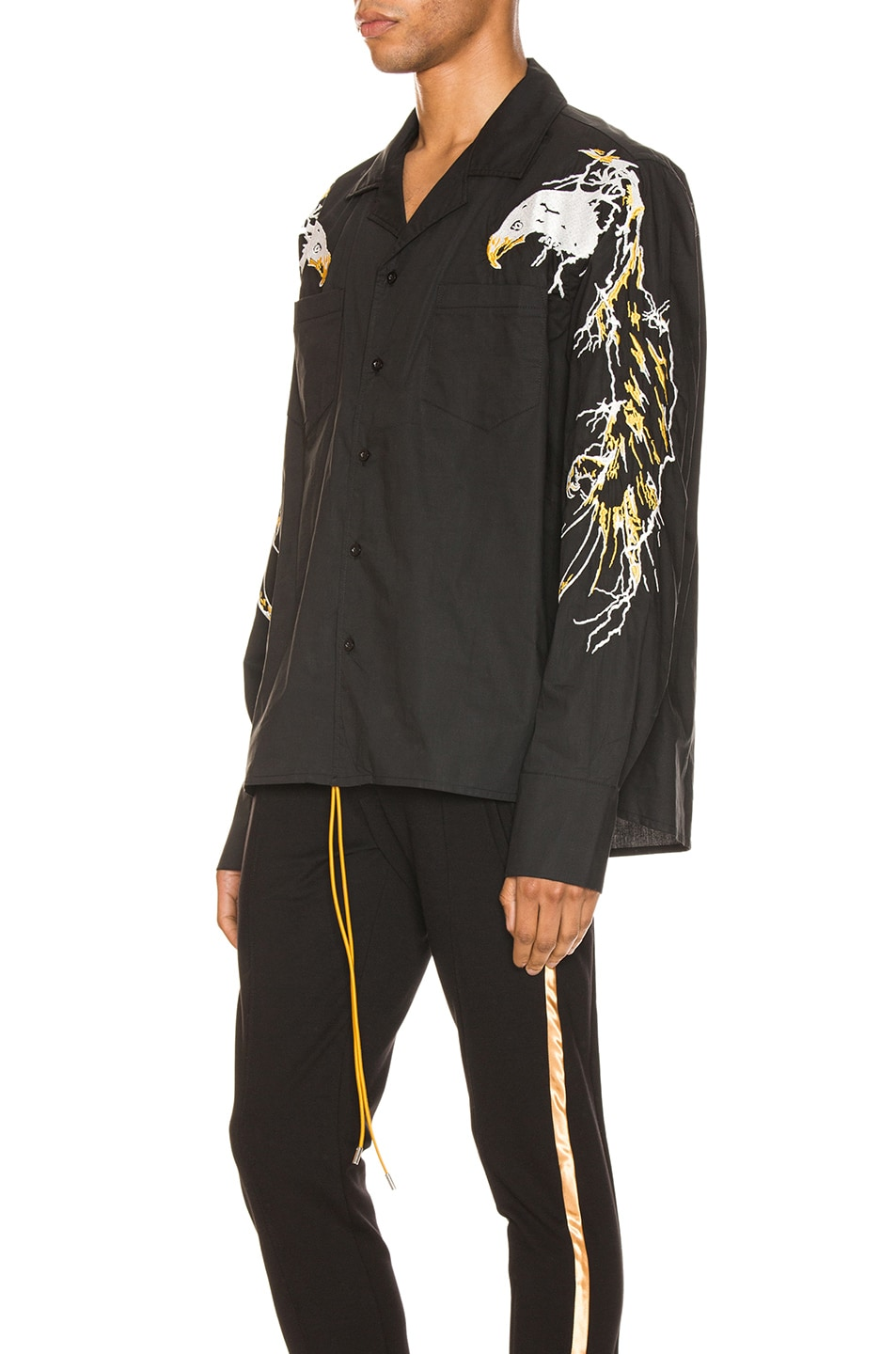 Image 3 of Rhude Eagle Embroidered Button Up in Black