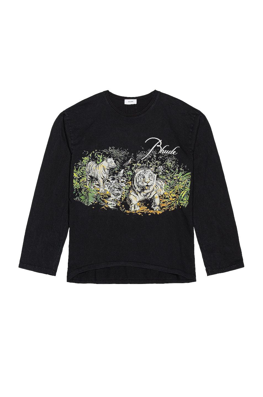 Image 1 of Rhude Lions Long Sleeve Tee in Black
