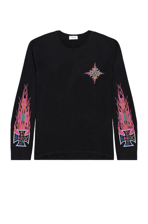Image 1 of Rhude Neon Flame Long Sleeve Tee in Black