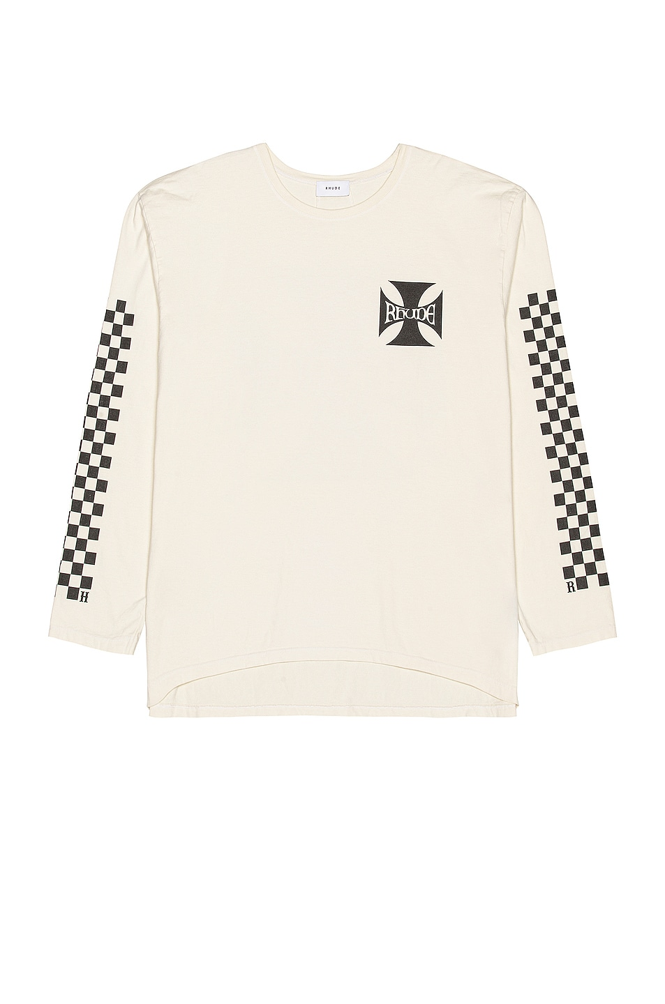 Image 1 of Rhude Classic Checkers Long Sleeve Tee in White