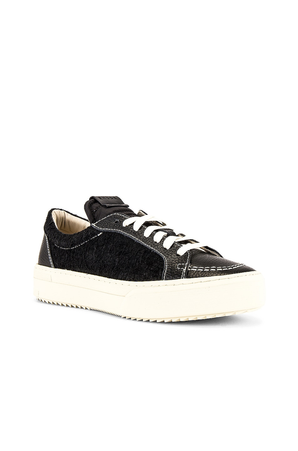 Image 1 of Rhude V1-Lo Sneaker in Black Leather & Black Suede & White