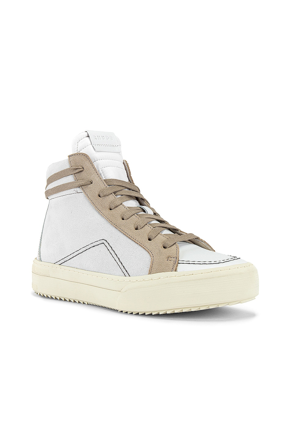 Image 1 of Rhude V1-Hi Sneaker in White Leather & Grey Suede & Brown White