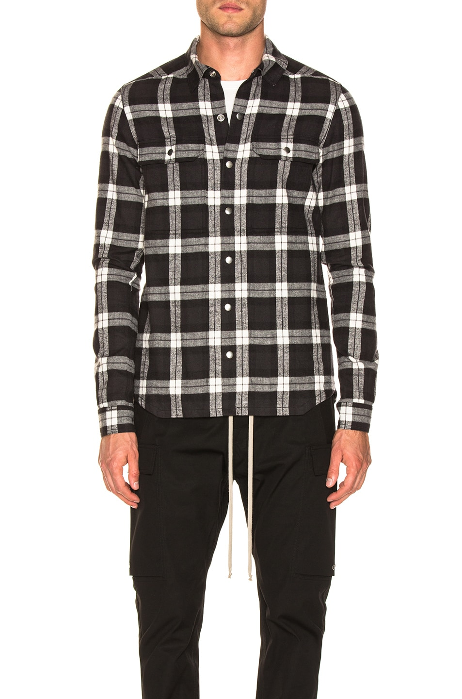 Image 2 of Rick Owens Cotton Plaid Outershirt in Black & Milk
