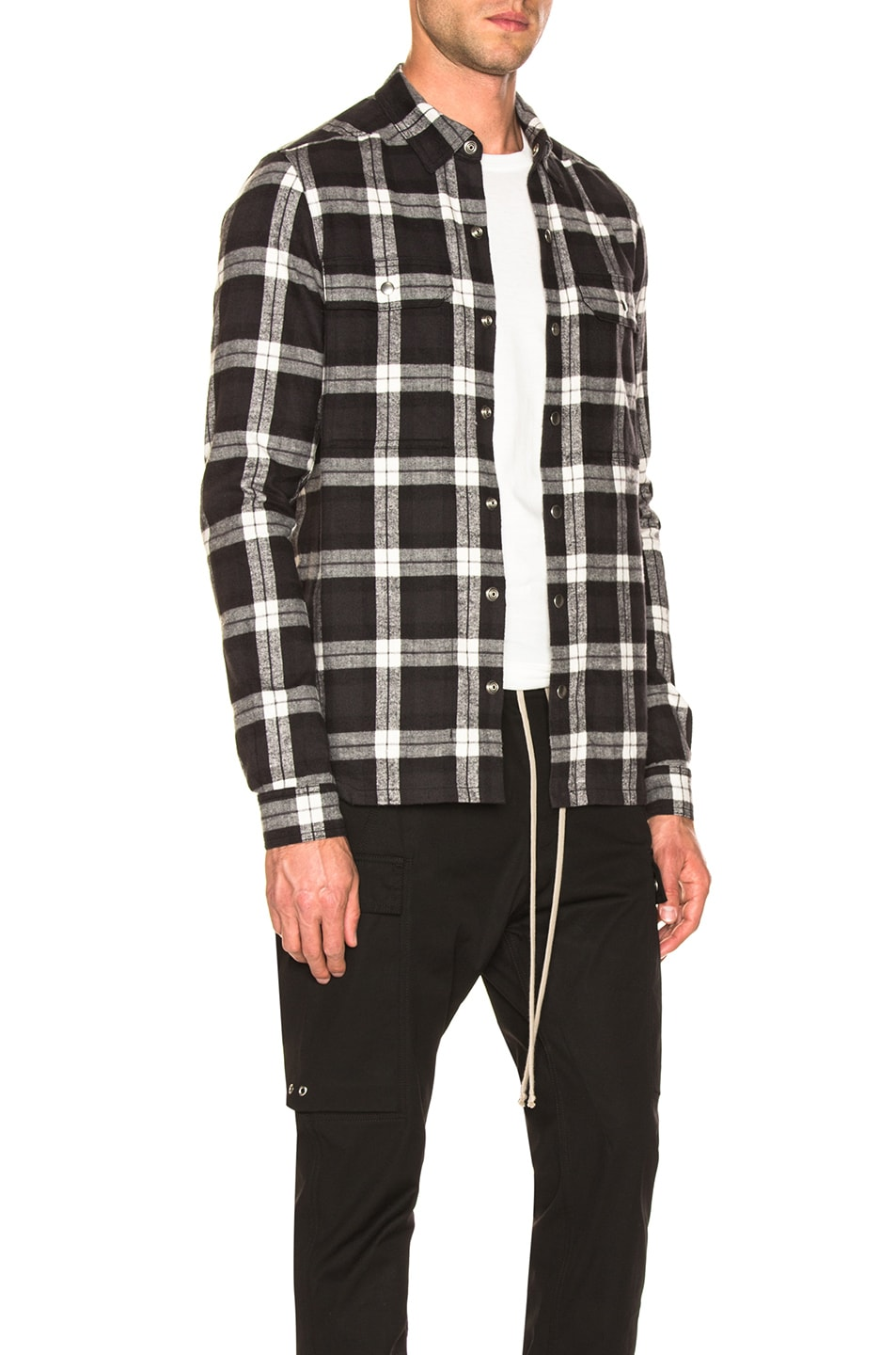 Image 3 of Rick Owens Cotton Plaid Outershirt in Black & Milk