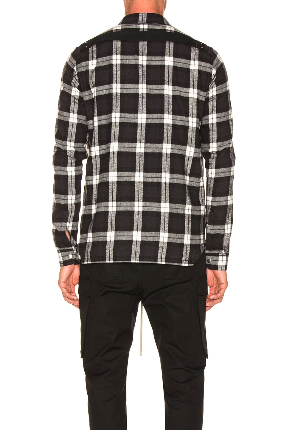 Image 4 of Rick Owens Cotton Plaid Outershirt in Black & Milk