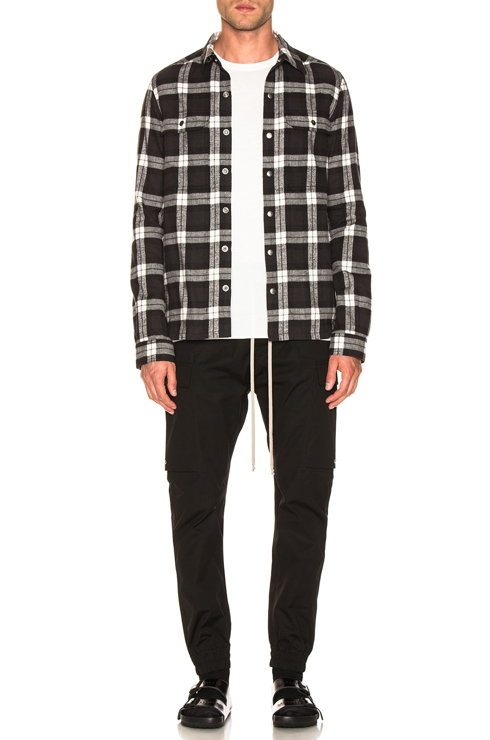 Image 5 of Rick Owens Cotton Plaid Outershirt in Black & Milk