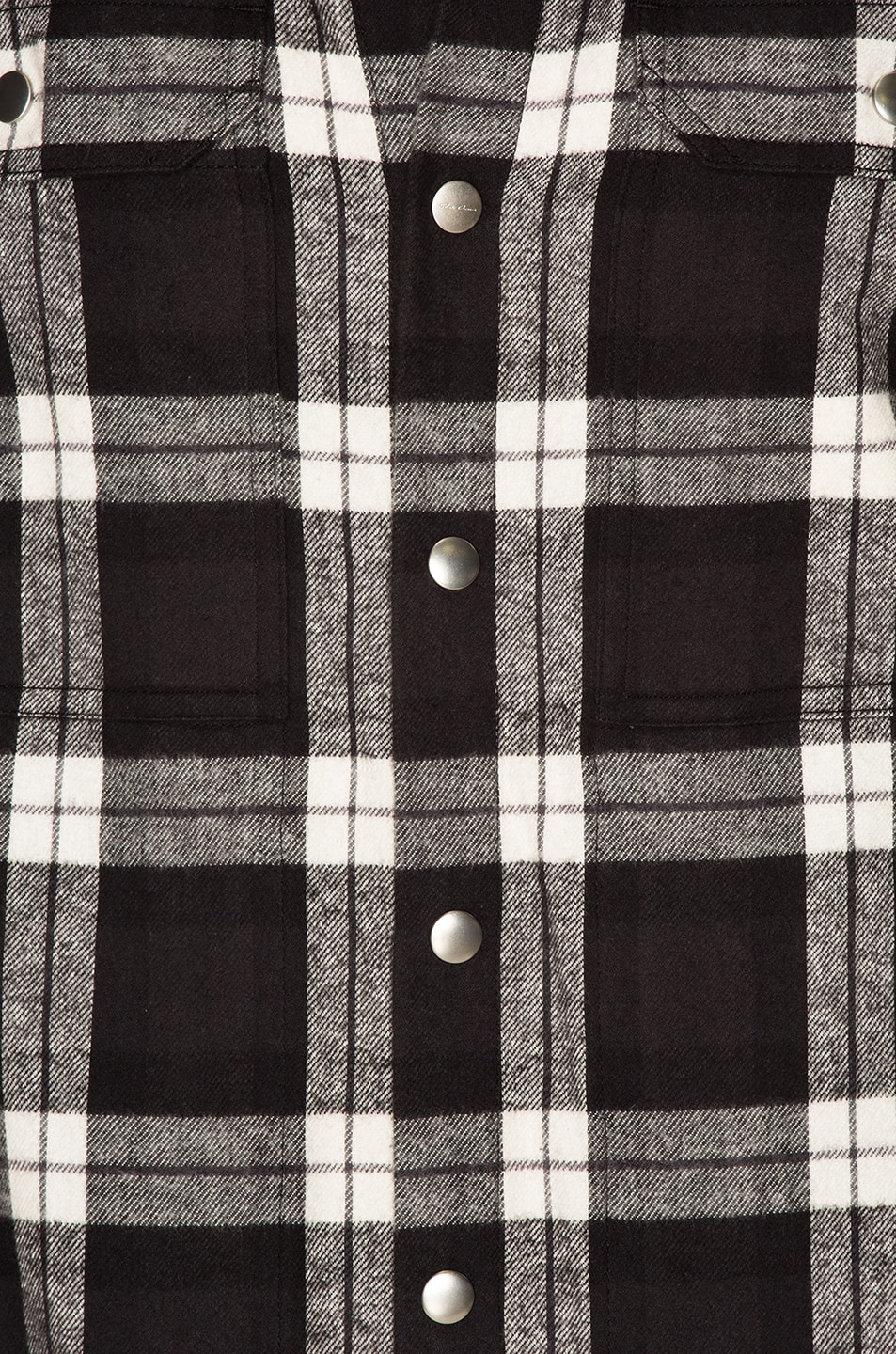 Image 6 of Rick Owens Cotton Plaid Outershirt in Black & Milk