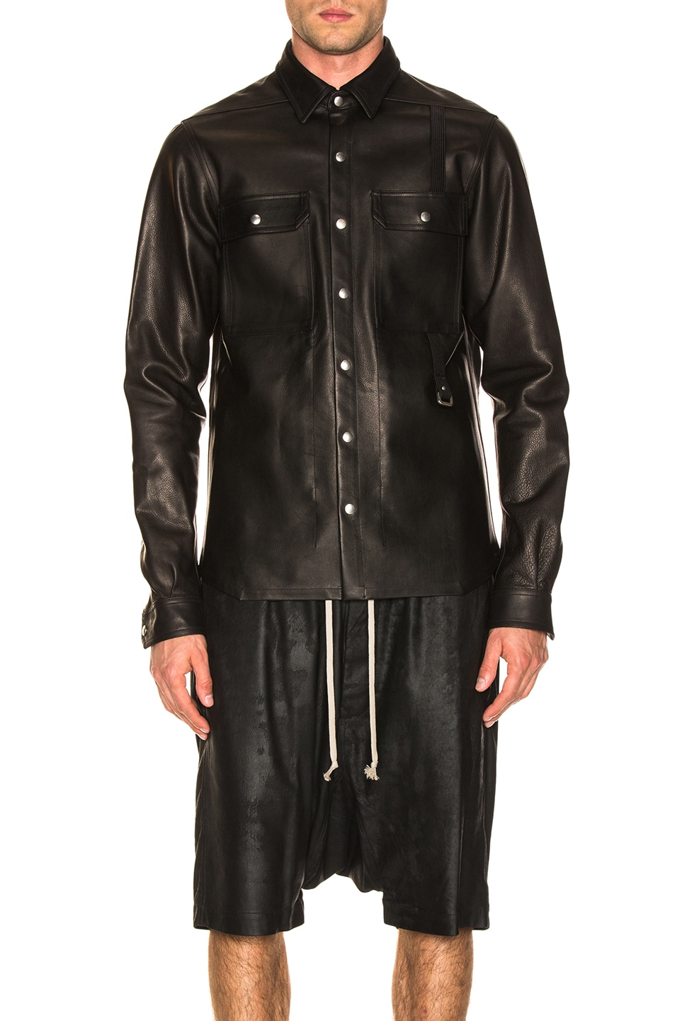 Image 1 of Rick Owens Leather Outershirt in Black