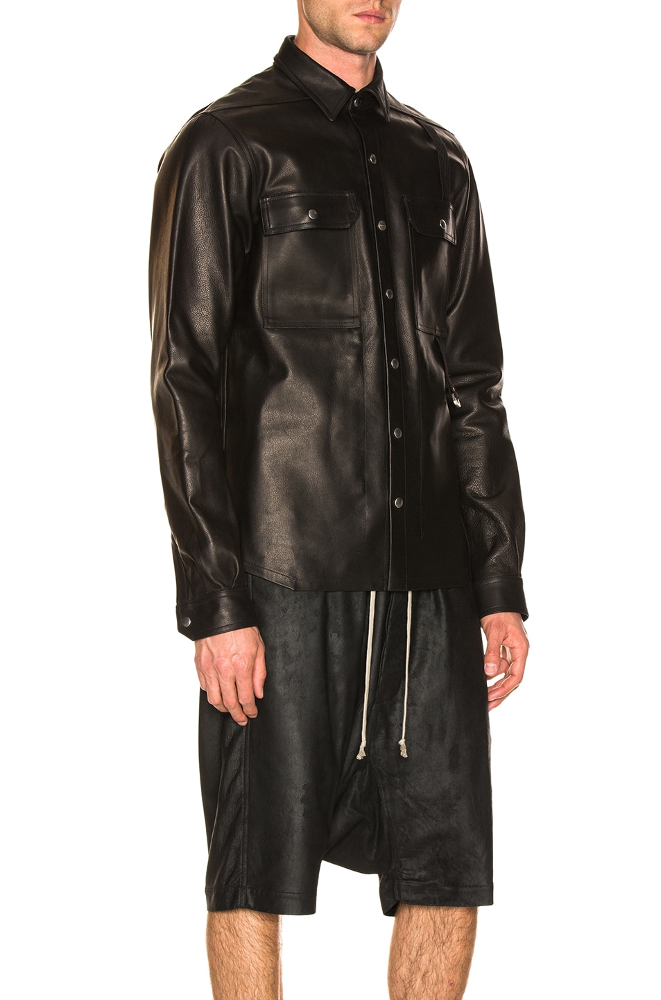 Image 2 of Rick Owens Leather Outershirt in Black