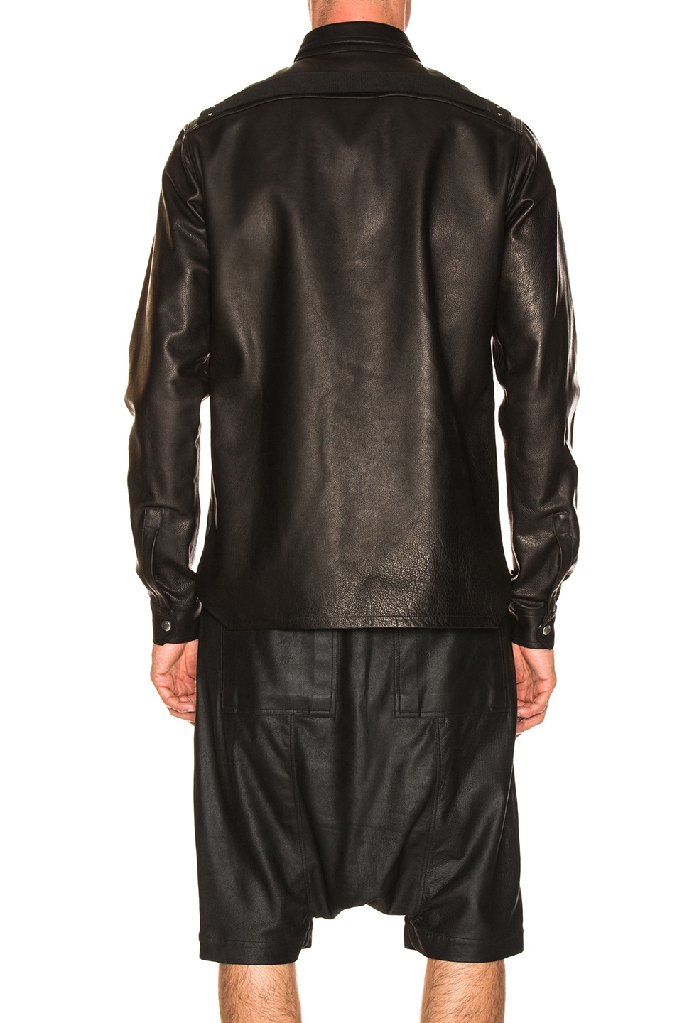 Image 3 of Rick Owens Leather Outershirt in Black