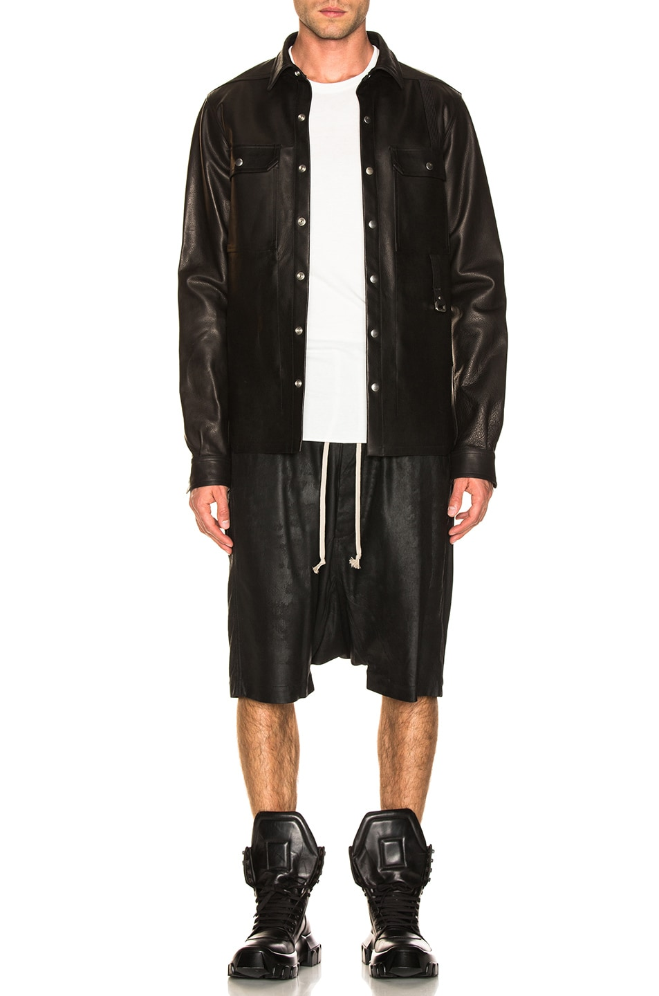Image 4 of Rick Owens Leather Outershirt in Black