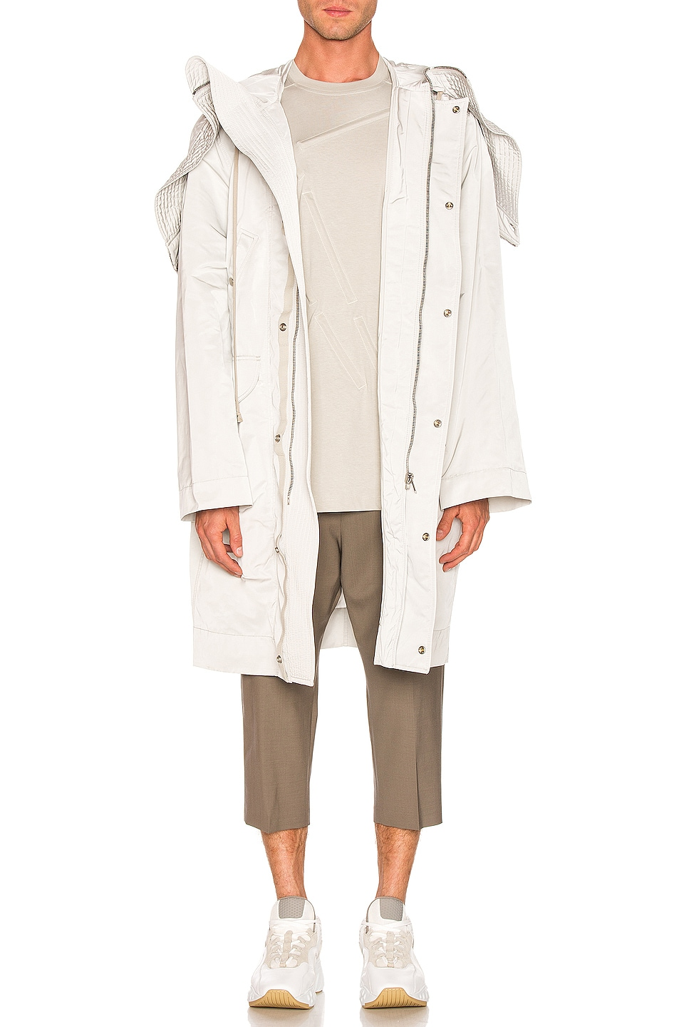 Image 1 of Rick Owens Technical Taffeta Parka in Oyster