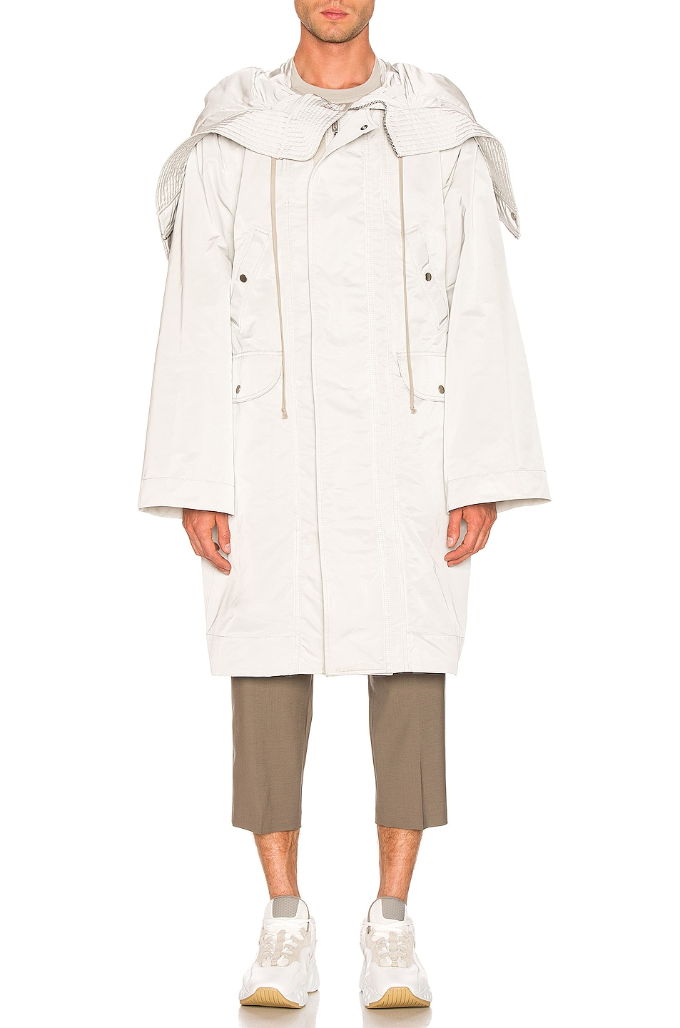 Image 2 of Rick Owens Technical Taffeta Parka in Oyster