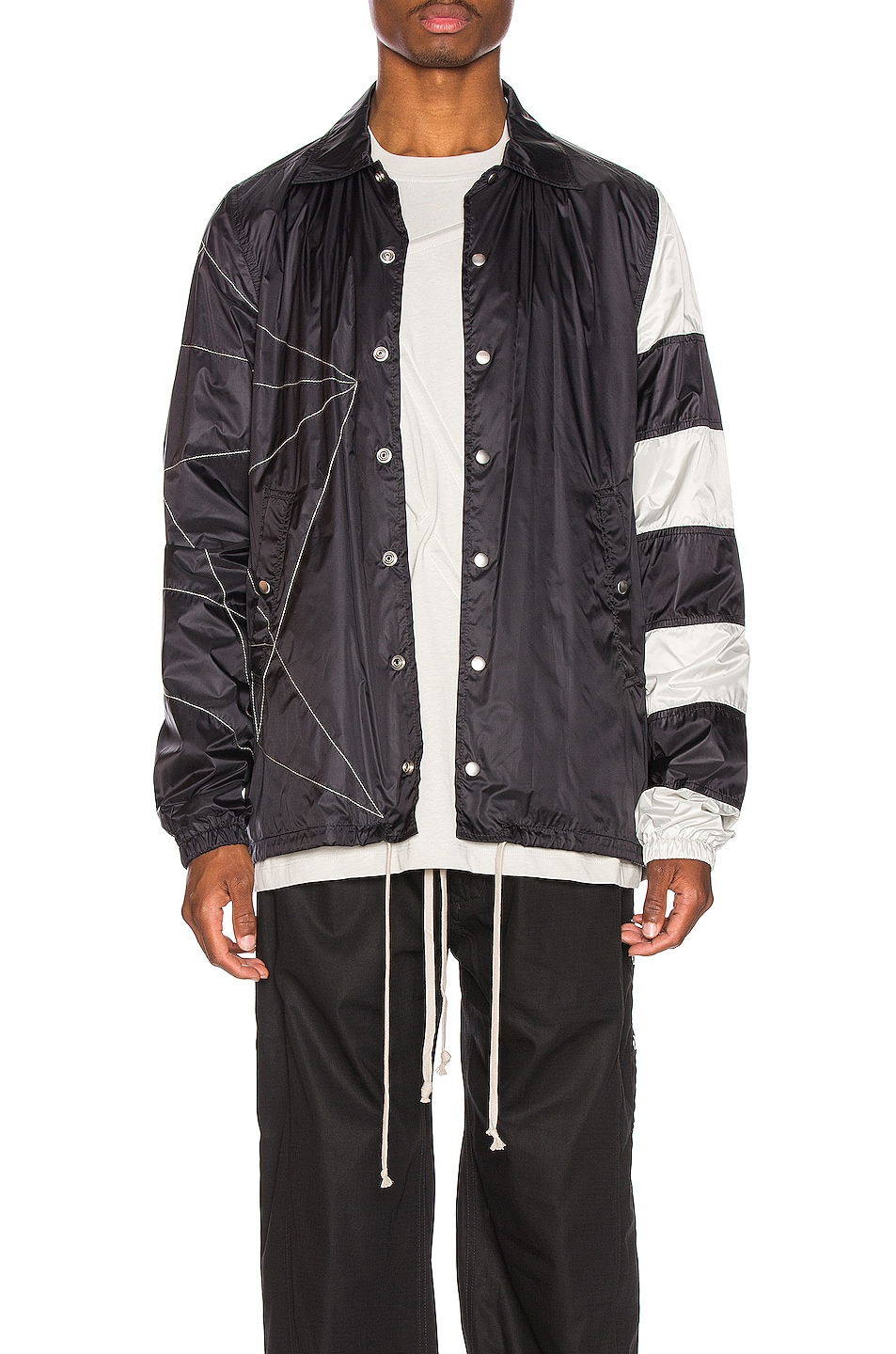 Image 1 of Rick Owens Snapfront Jacket in Black, Oyster & Pearl