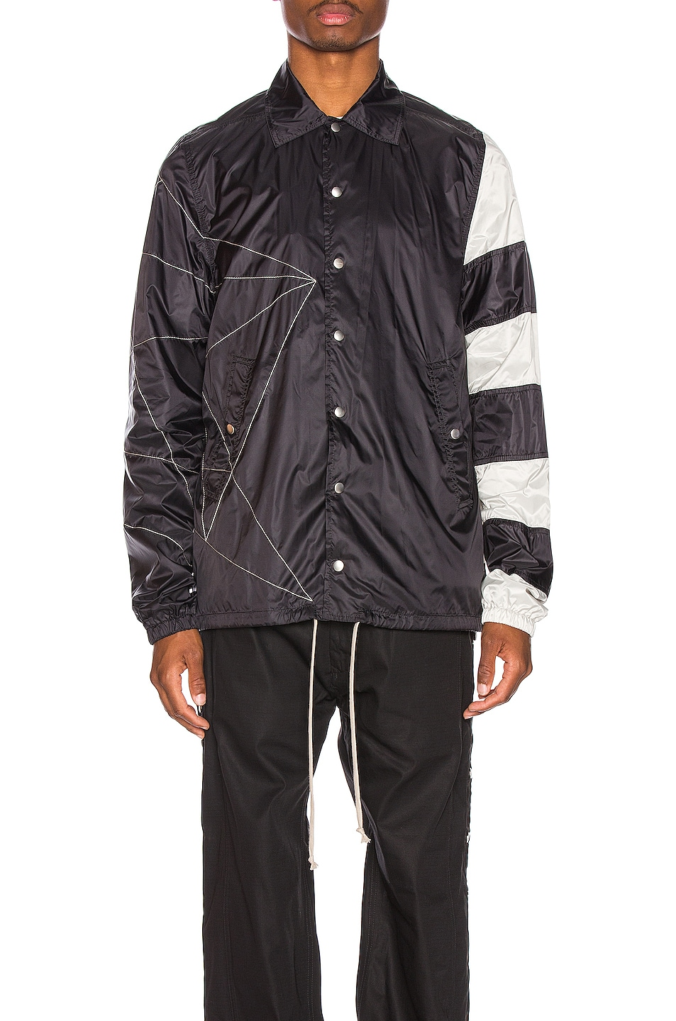 Image 2 of Rick Owens Snapfront Jacket in Black, Oyster & Pearl