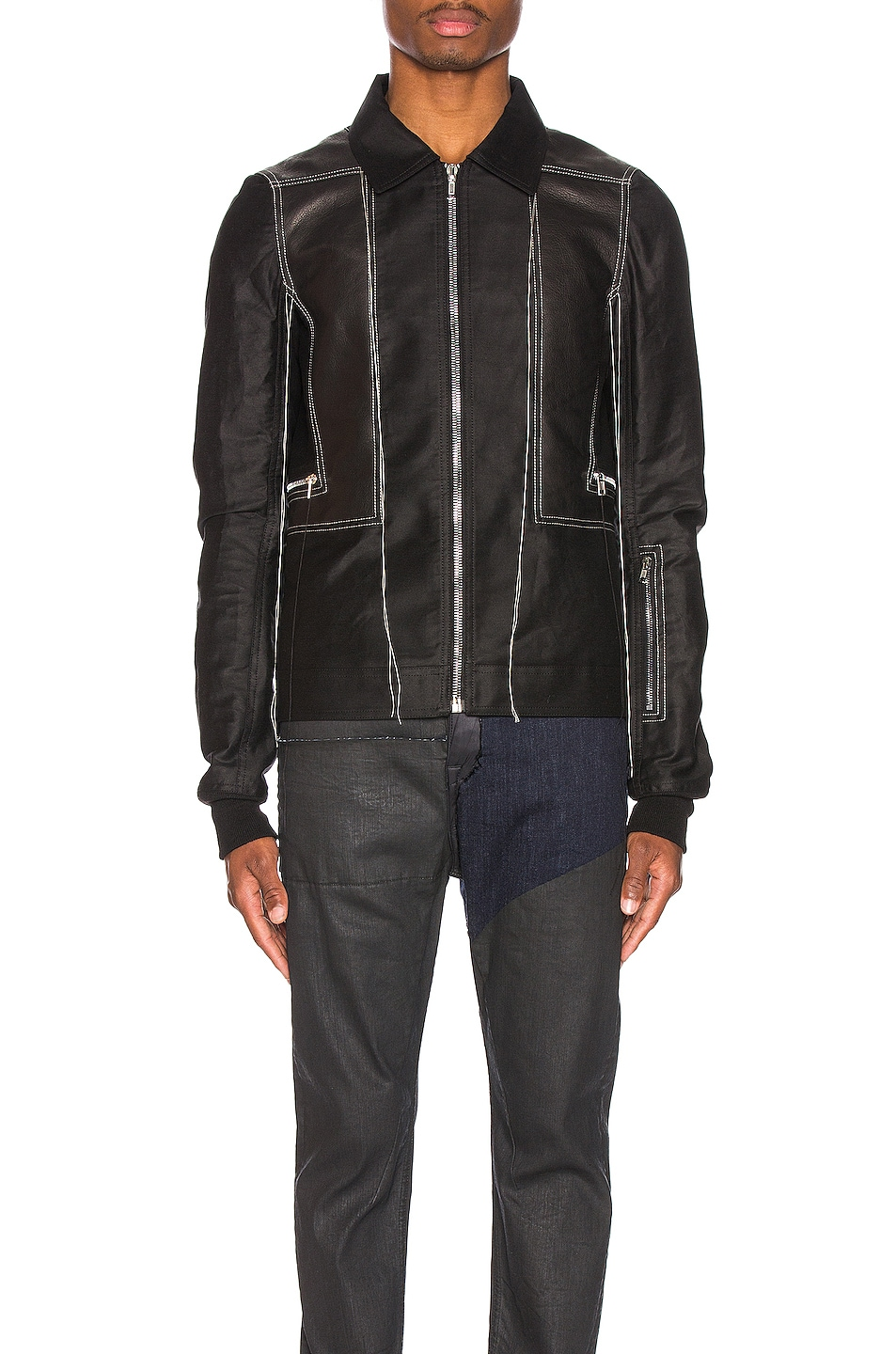 Image 2 of Rick Owens Rotterdam Harness Jacket in Black & Pearl