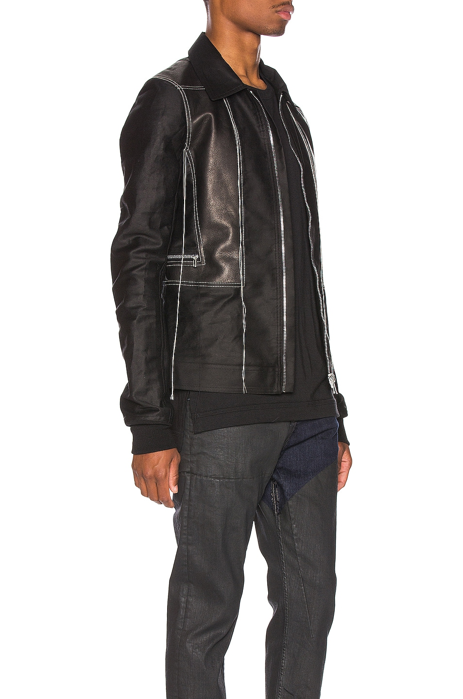 Image 3 of Rick Owens Rotterdam Harness Jacket in Black & Pearl