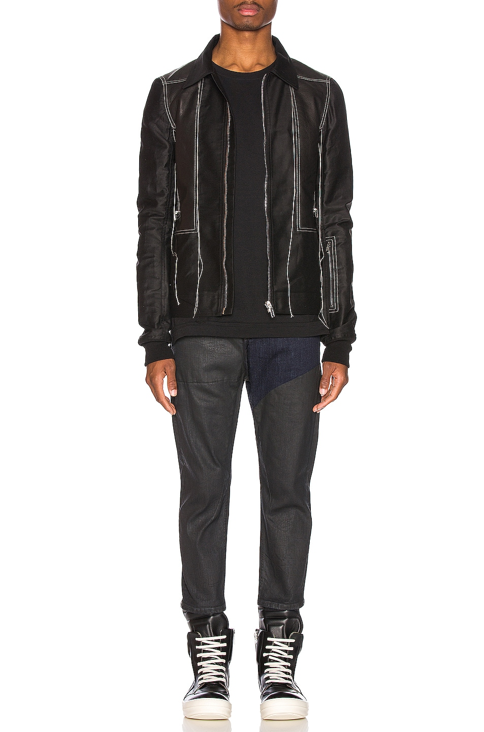 Image 5 of Rick Owens Rotterdam Harness Jacket in Black & Pearl