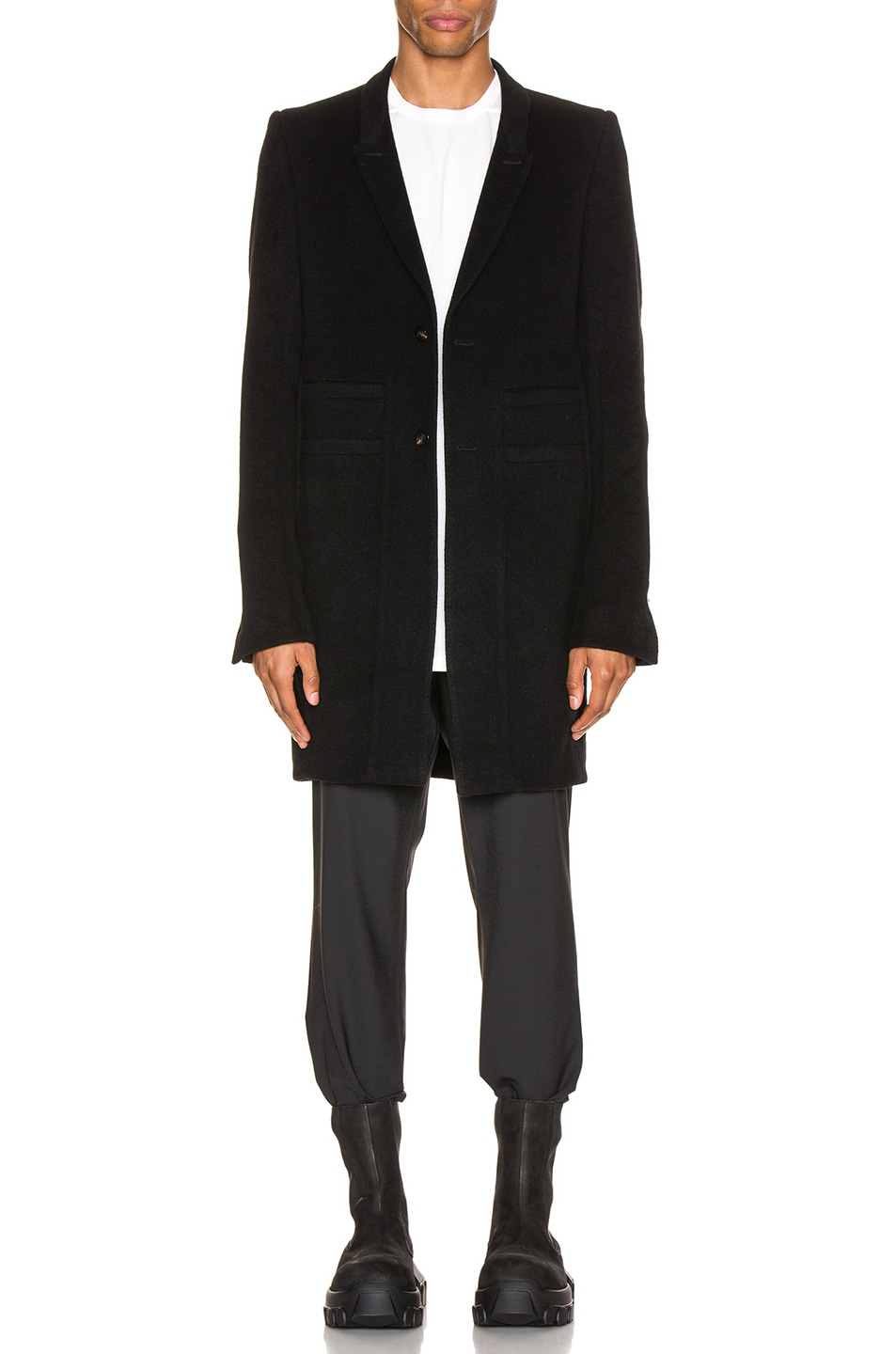 Image 1 of Rick Owens Extreme Soft Peacoat in Black