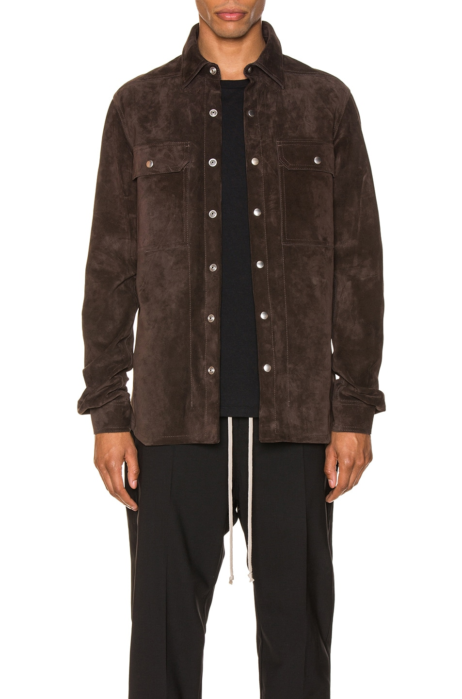 Image 1 of Rick Owens Outershirt in Brown