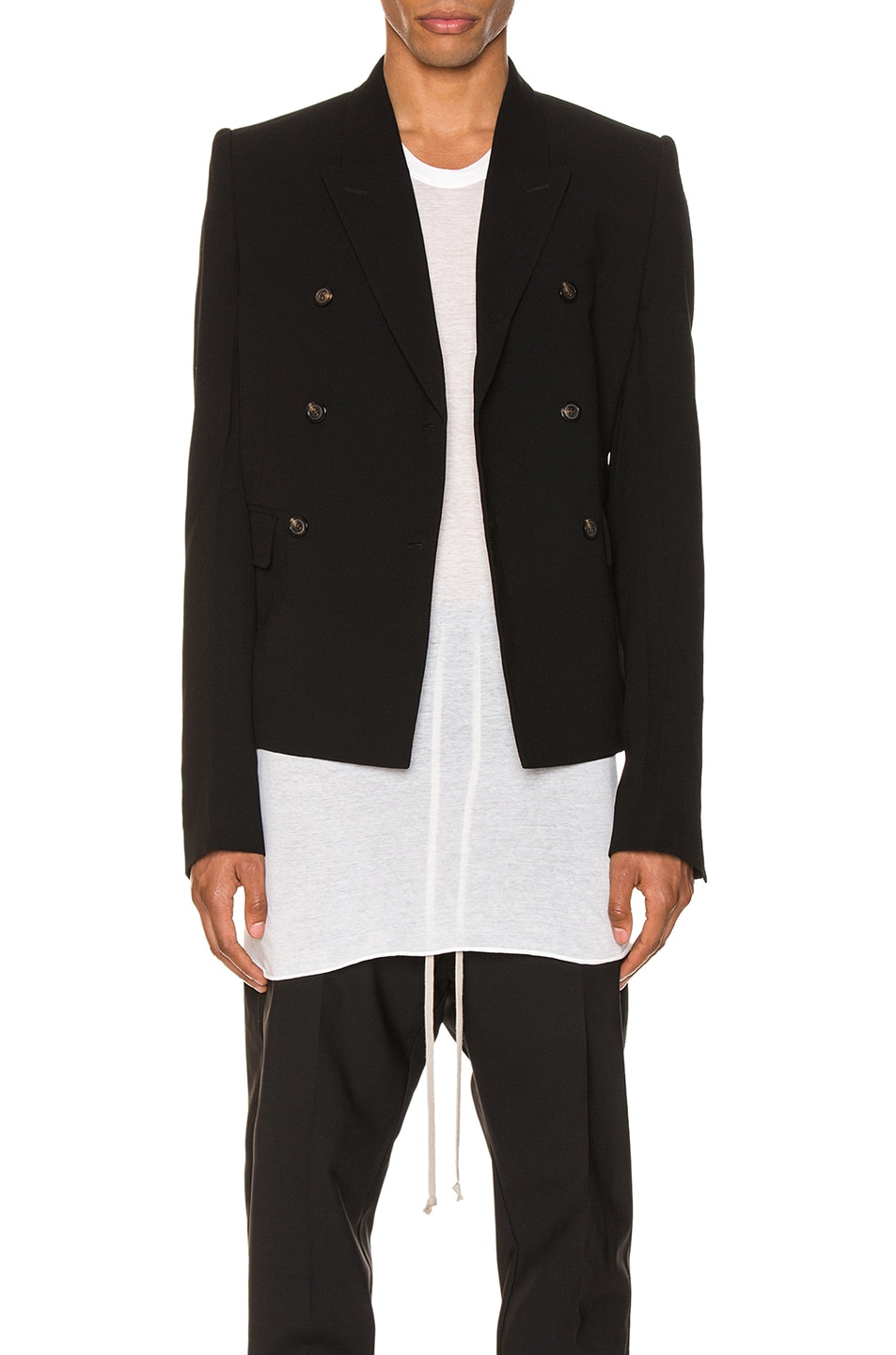 Image 1 of Rick Owens JMF Cropped Blazer in Black