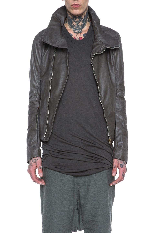 Image 1 of Rick Owens Bauhaus Glass Ice Lambskin Leather Jacket in Dark Dust