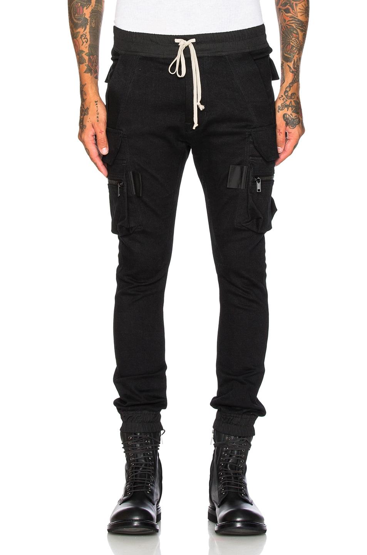 c48227ad Image 1 of Rick Owens Denim Jogging Cargo Pants in Black