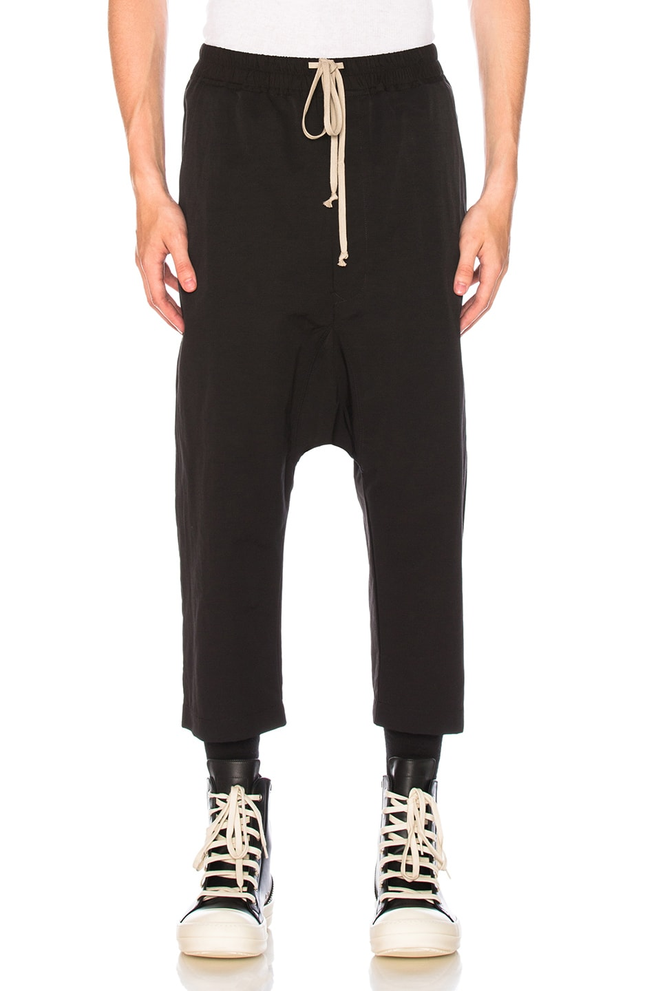 drawstring cropped trousers - Black Rick Owens