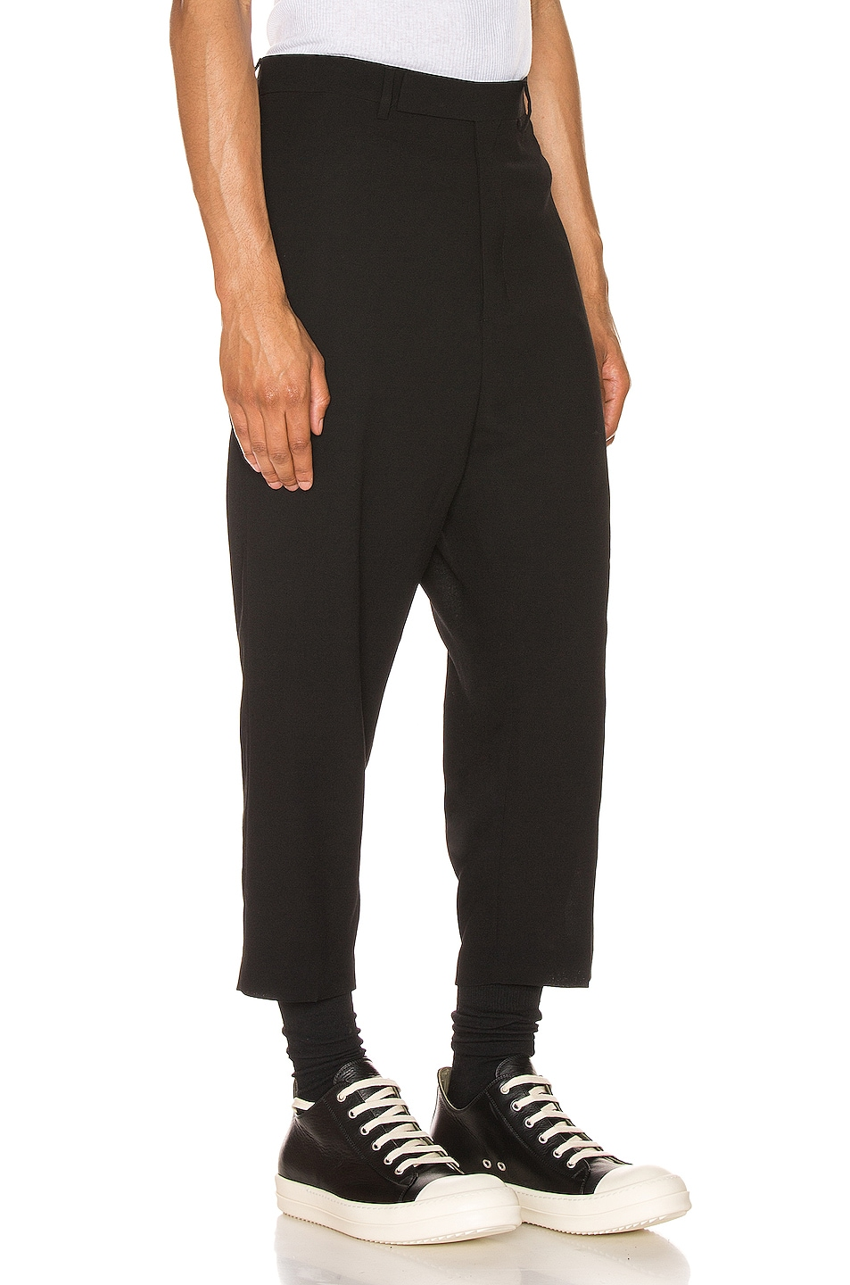 Image 2 of Rick Owens Slim Cropped Astaires Trousers in Black