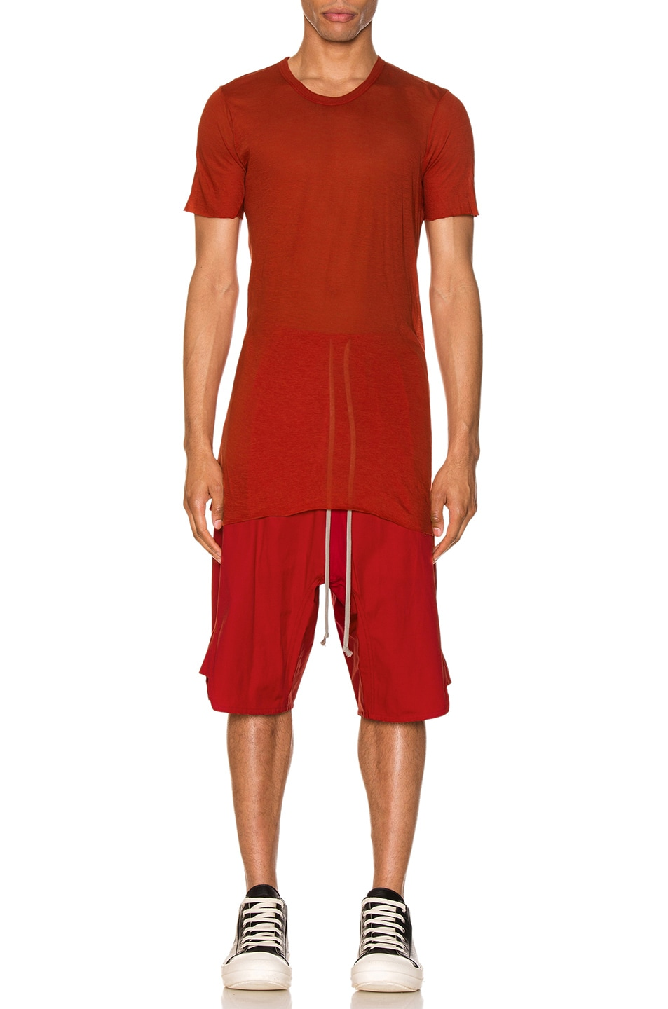 Image 4 of Rick Owens Basic Tee in Cardinal Red