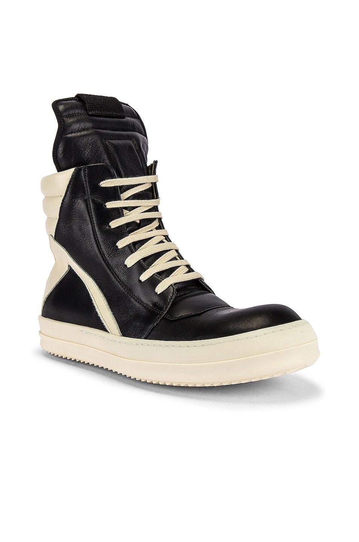 Image 1 of Rick Owens Geobasket Sneaker in Black & Milk