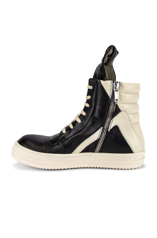 Image 5 of Rick Owens Geobasket Sneaker in Black & Milk