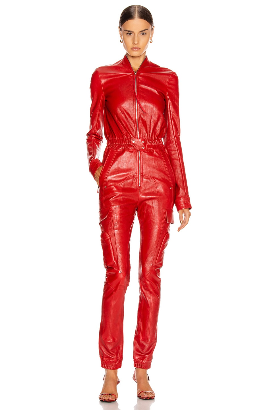 Image 2 of Rick Owens Leather Cargo Jumpsuit in Cardinal Red