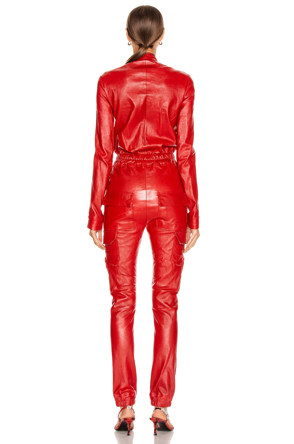 Image 4 of Rick Owens Leather Cargo Jumpsuit in Cardinal Red