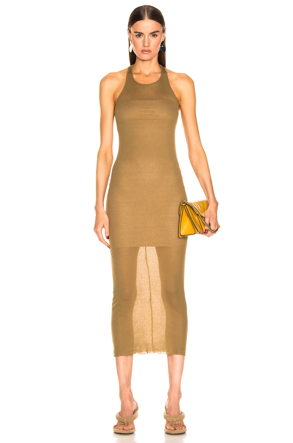 Image 1 of Rick Owens Tank Dress in Mustard