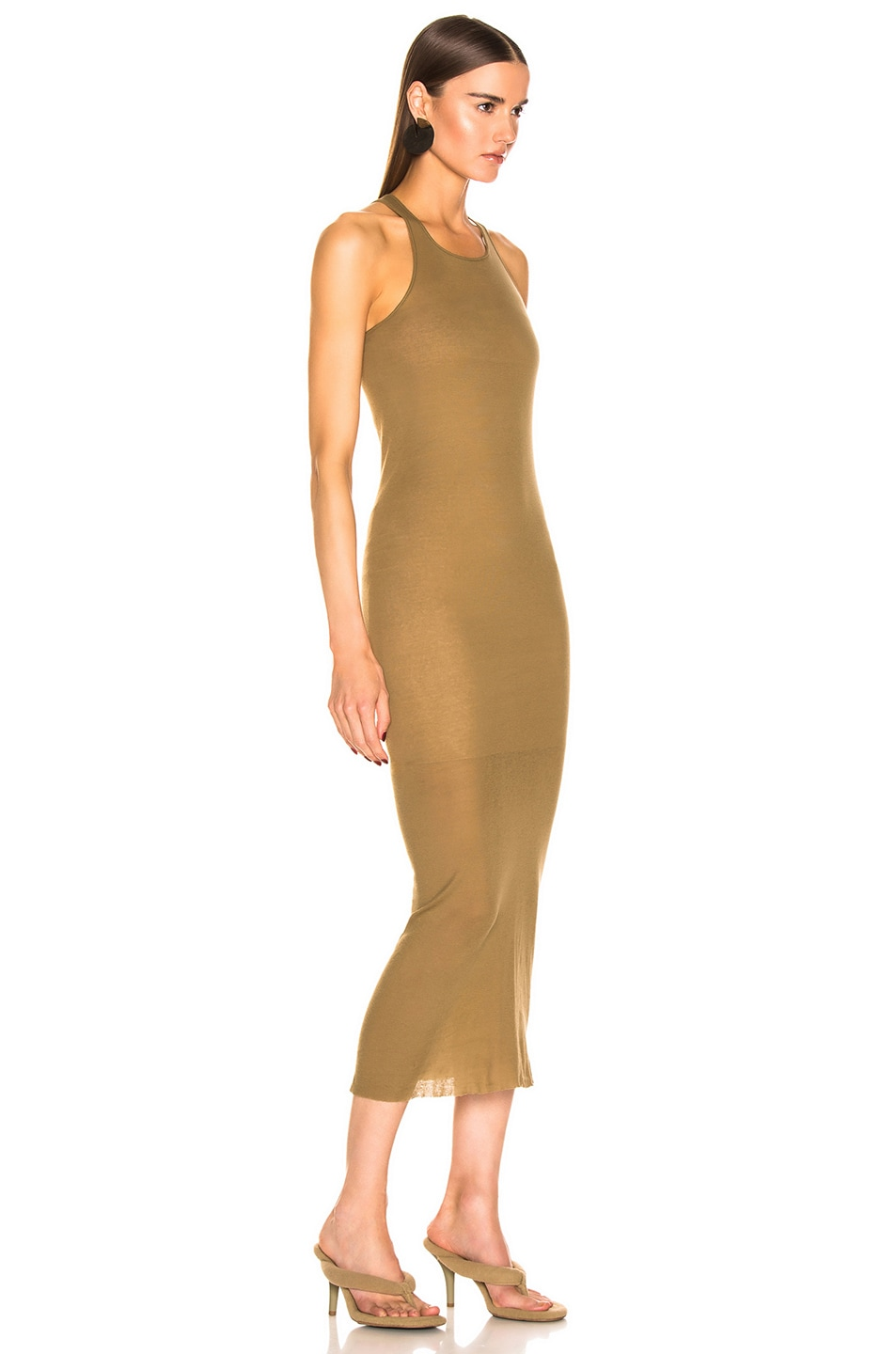 Image 2 of Rick Owens Tank Dress in Mustard
