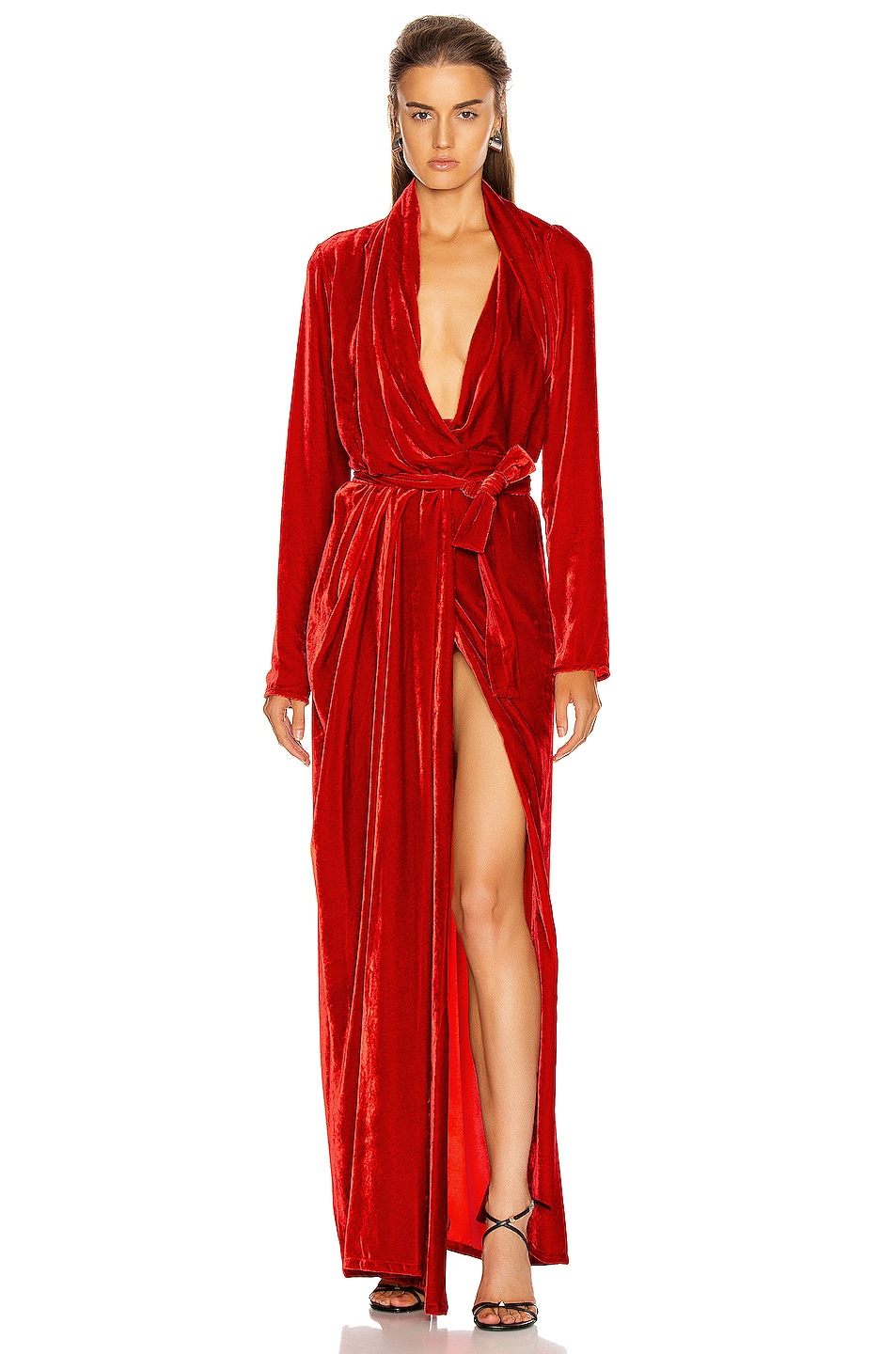 Image 1 of Rick Owens Wrap Long Sleeve Gown in Cardinal Red