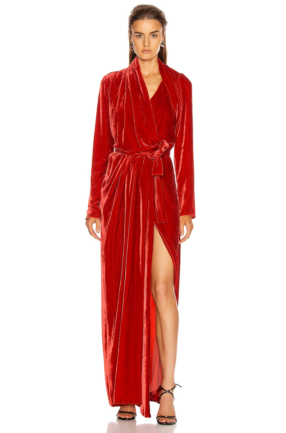 Image 2 of Rick Owens Wrap Long Sleeve Gown in Cardinal Red