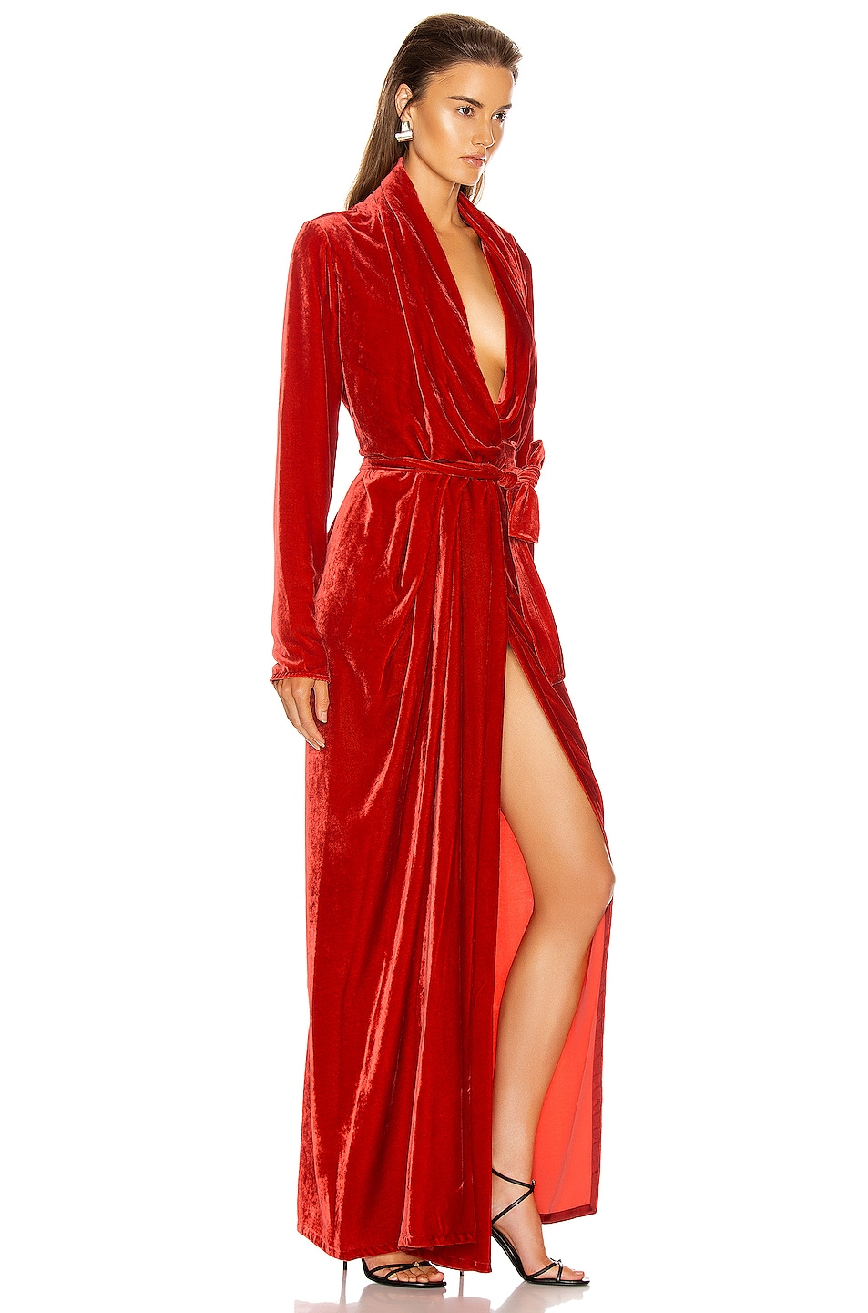 Image 3 of Rick Owens Wrap Long Sleeve Gown in Cardinal Red