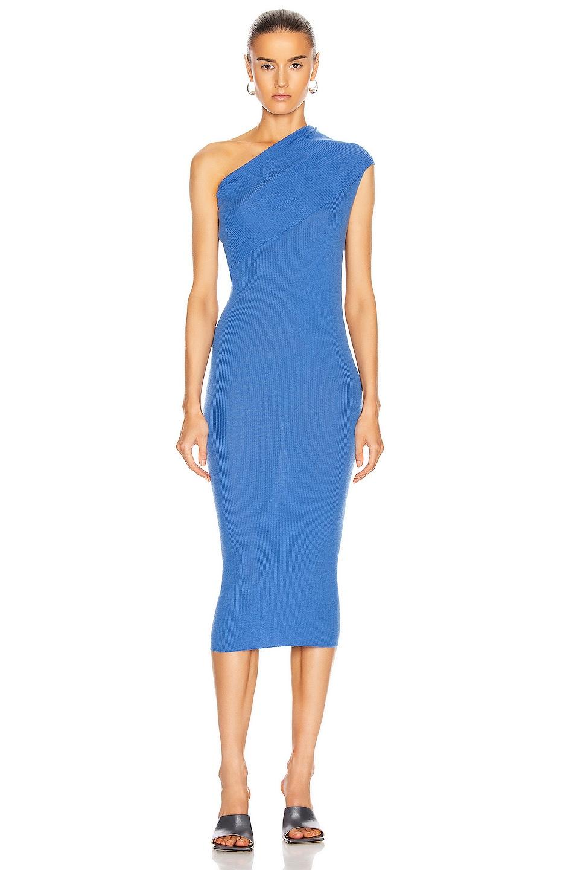 Image 1 of Rick Owens One Shoulder Dress in Blue