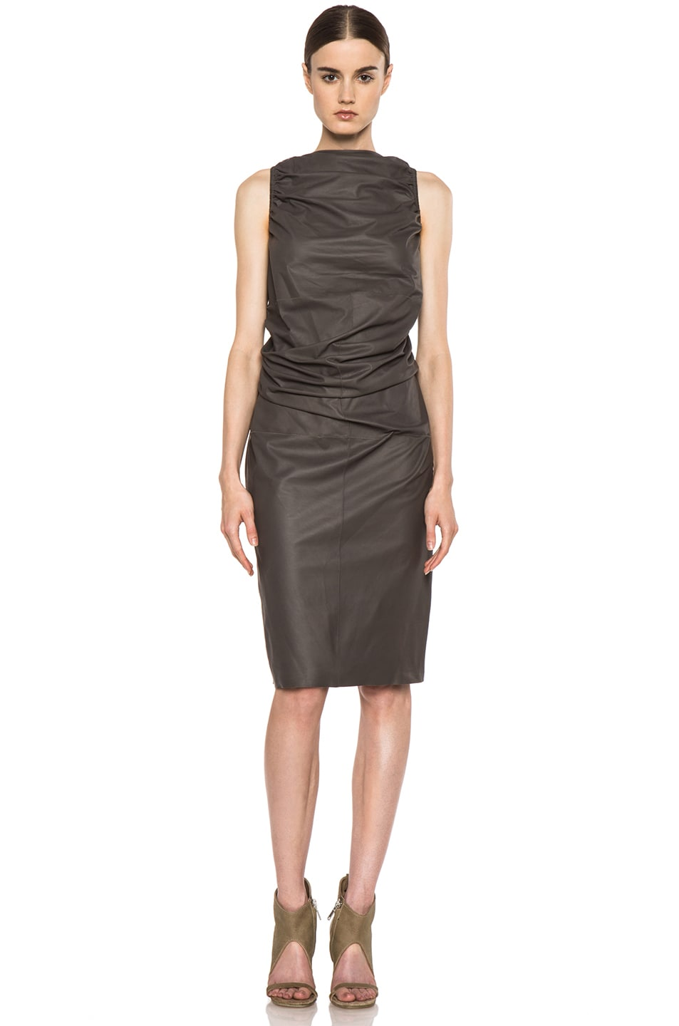 Image 1 of Rick Owens RUNWAY Leather Tube Tunic in Dark Dust