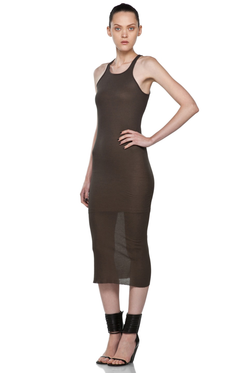 Black Basic Silk Rib Tank Dress Rick Owens hevbW